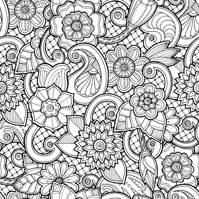 Naadloze achtergrond in vector met krabbels, bloemen en Paisley stock illustratie