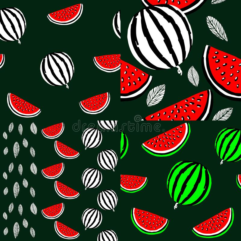 Naadloze achtergrond vier met watermeloenen vector illustratie