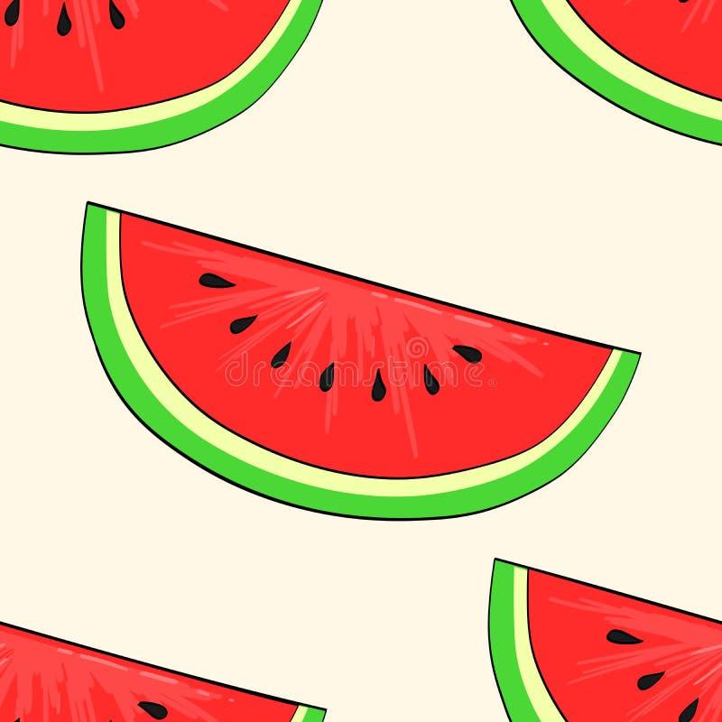 Naadloze achtergrond, vruchten of bes, rode watermeloen rooster vector illustratie