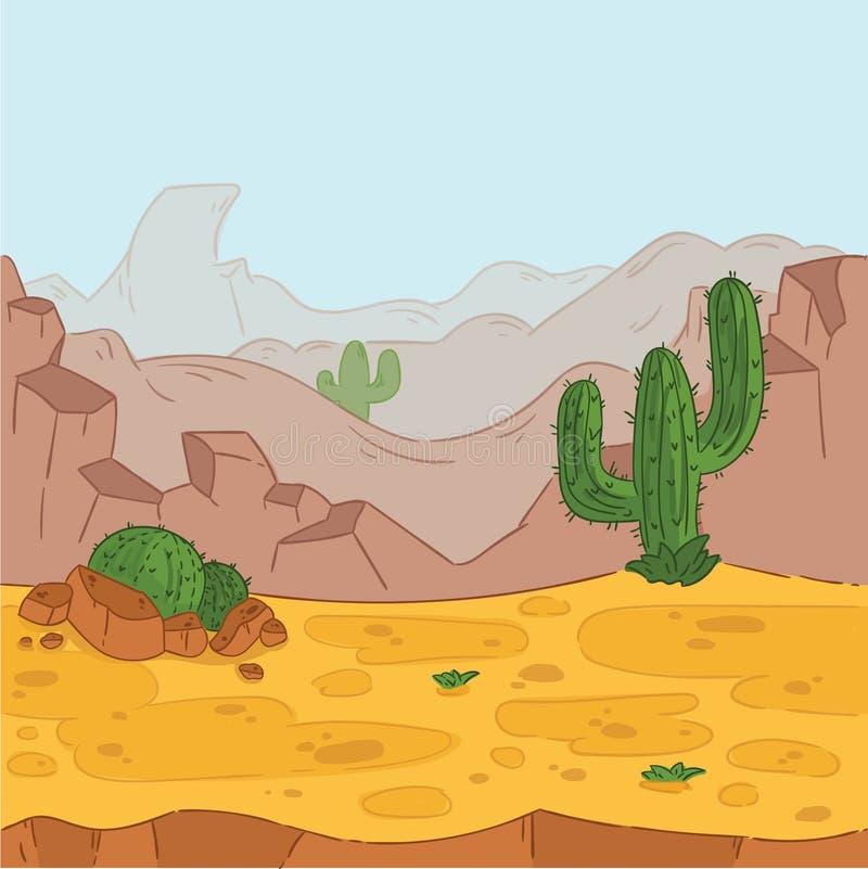 Naadloze Achtergrond Woestijnlandschap voor spelontwerp vector illustratie