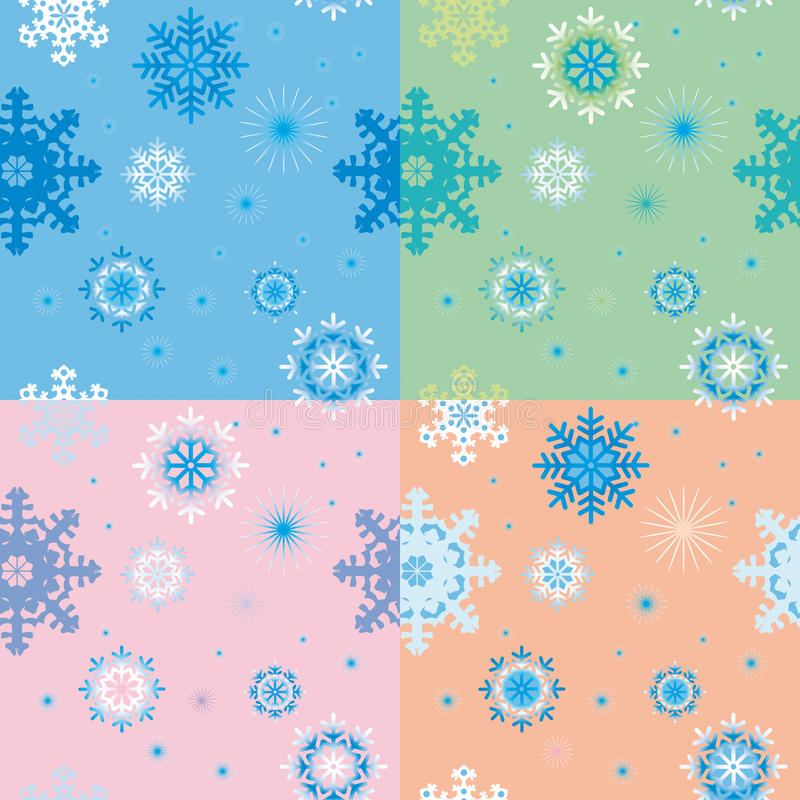 Naadloze achtergronden met sneeuwvlokken stock foto's