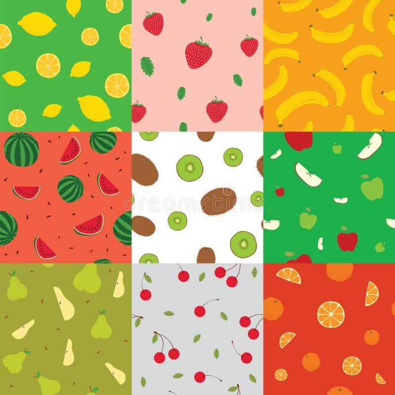 Naadloze achtergronden met vruchten vectorillustratie stock illustratie