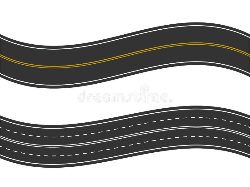 Naadloze asfaltweg en wegtypes van hoogste mening Vector illustratie stock illustratie