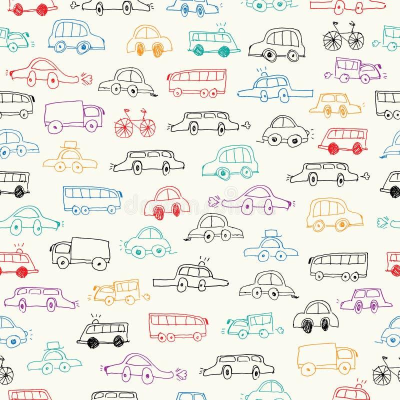 Naadloze auto'skrabbels stock illustratie
