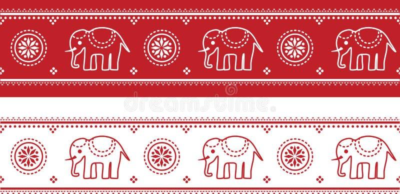 Naadloze Aziatische olifantsgrens royalty-vrije illustratie