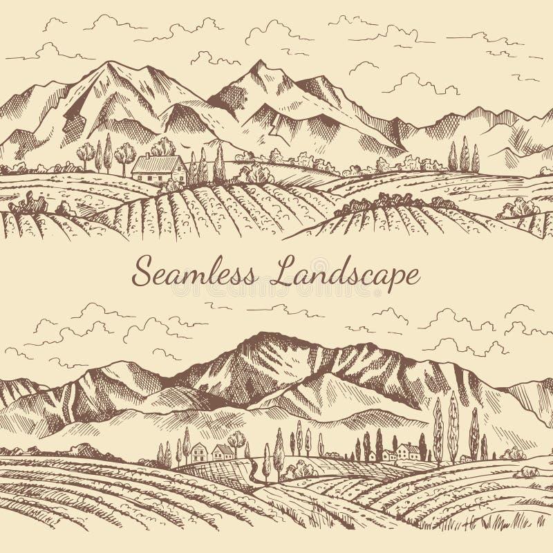 Naadloze beelden van aardlandschap Wijngaard of plattelandsillustraties vector illustratie