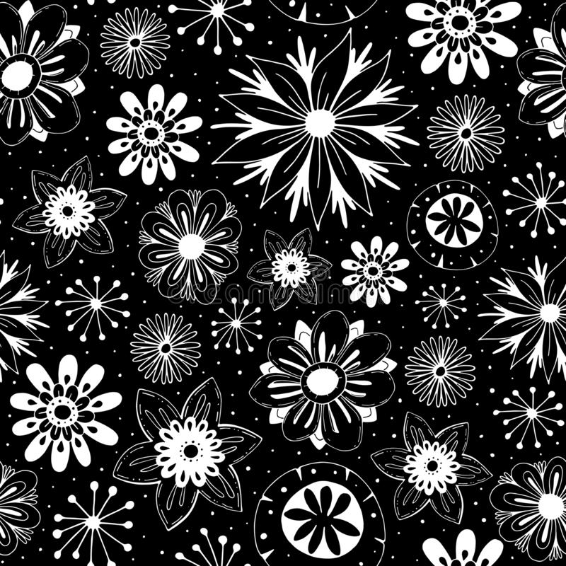 naadloze beeldverhaalvector die eenvoudig patroon met leuke bloemen en decoratieve elementen op een neutrale achtergrond herhaalt stock illustratie