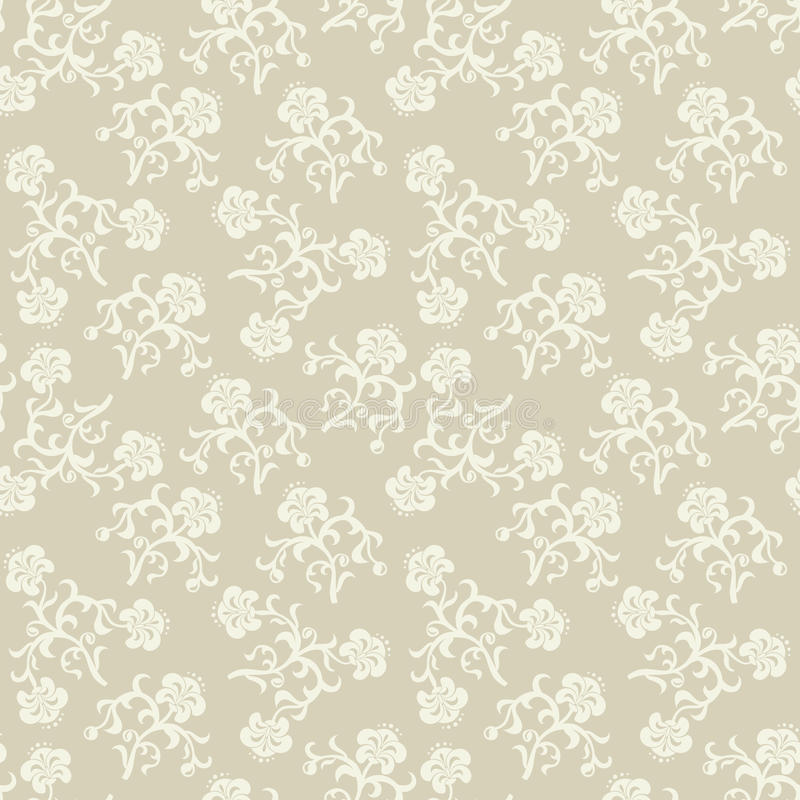 Naadloze beige bloemenachtergrond. stock illustratie