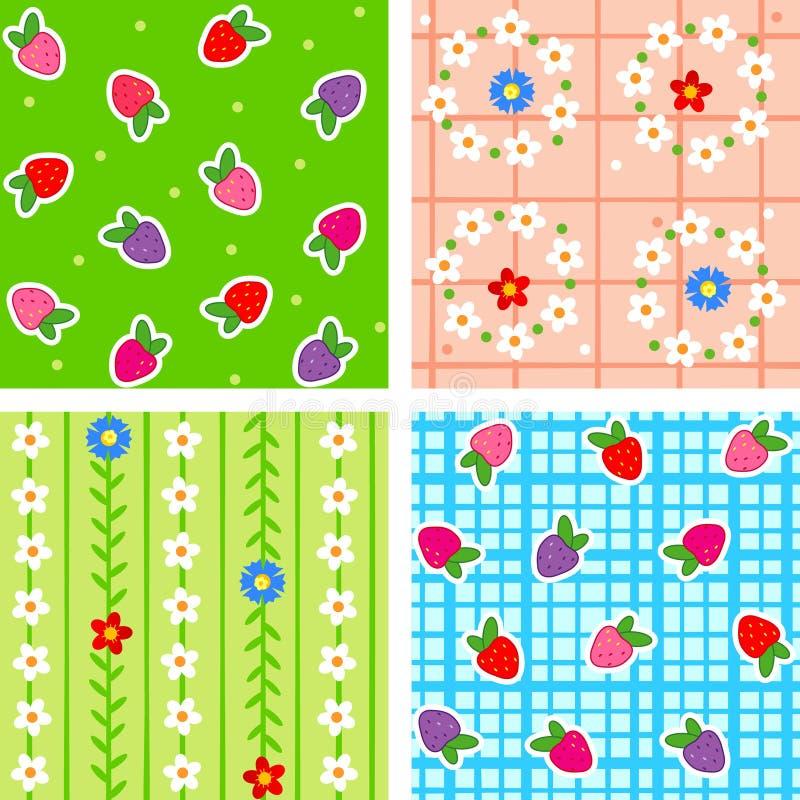 Naadloze bessen en bloemen stock illustratie
