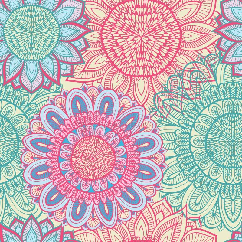 Naadloze blauwe en roze bloemenachtergrond stock illustratie