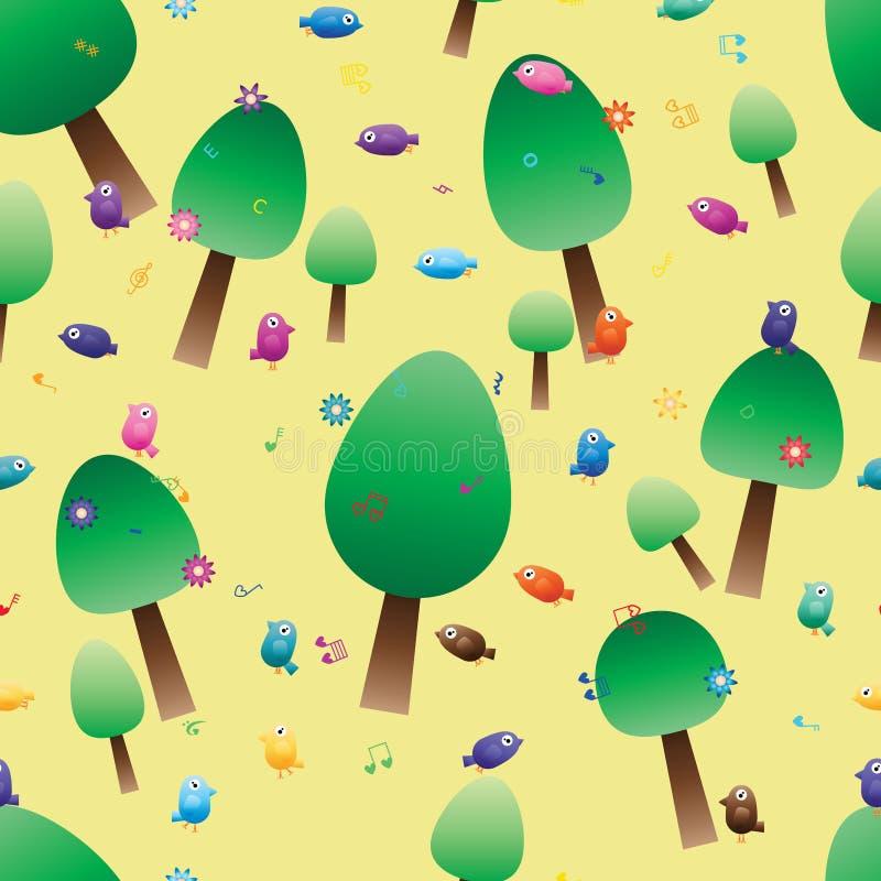 Naadloze bloem van de de notavogel van de boom de niet regelmatige muziek stock illustratie