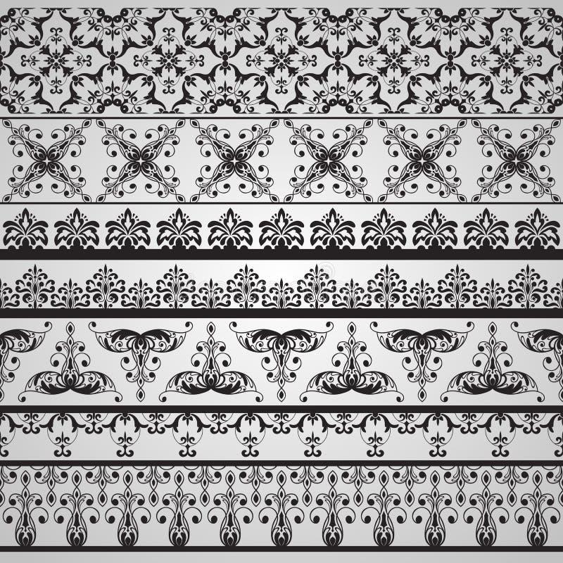 Naadloze Bloemen Bloemen Retro Grenzen stock illustratie