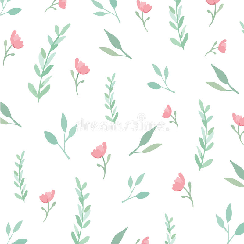 Naadloze Bloemen en Bladeren royalty-vrije illustratie