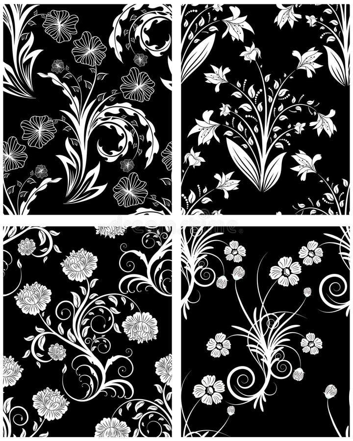 Naadloze bloemen geplaatste achtergronden vector illustratie