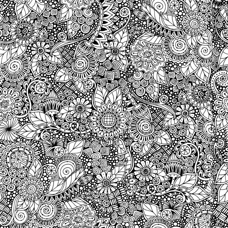 Naadloze bloemen retro zwart-witte krabbel stock foto