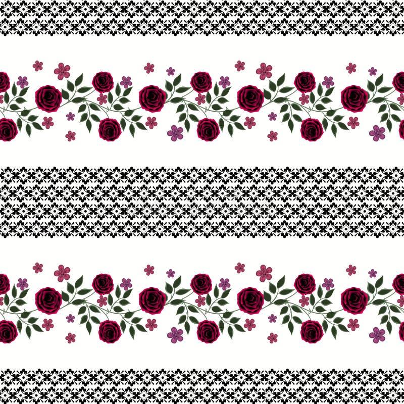 Naadloze bloemen van rood rozenpatroon op witte achtergrond vector illustratie