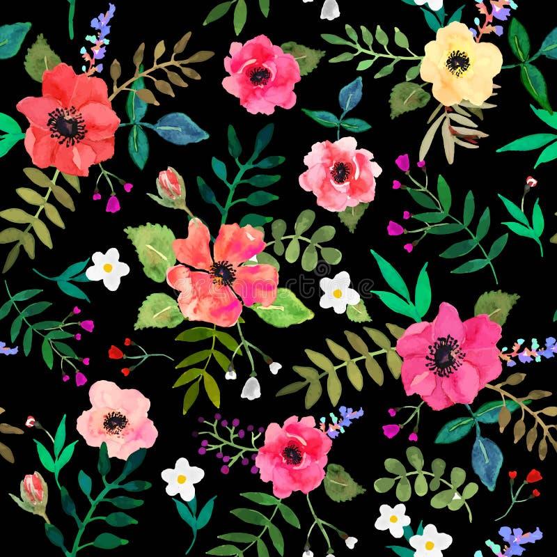 Naadloze bloemenachtergrond de rode bloemen en doorbladert trekken stock illustratie