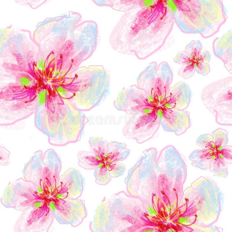 Naadloze bloemenachtergrond met bloemen vector illustratie