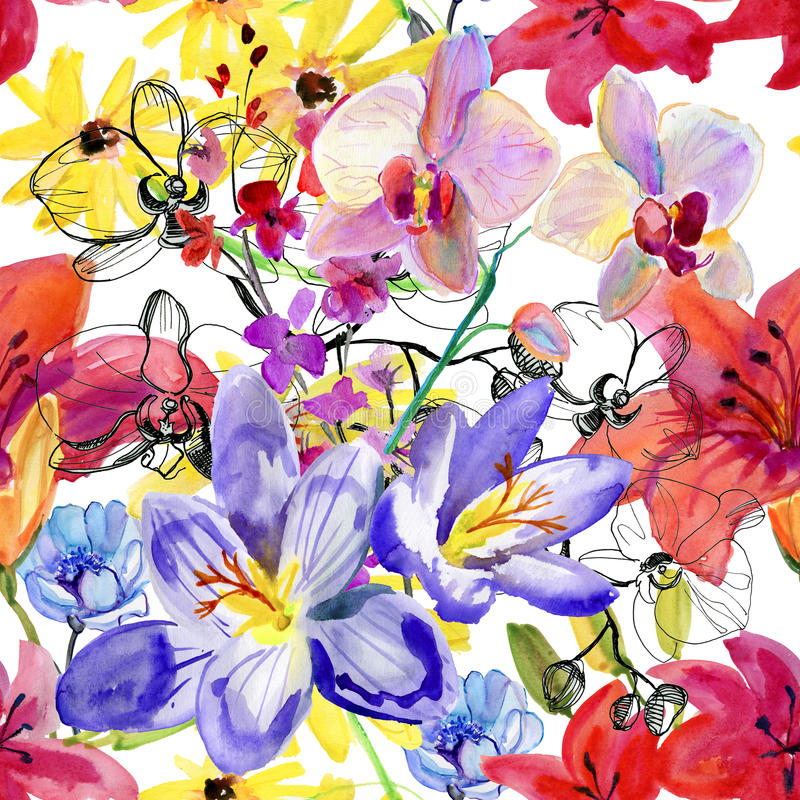 Naadloze bloemenachtergrond met bloemen Hand het geschilderde waterverf schilderen royalty-vrije illustratie