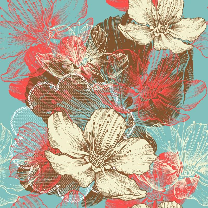Naadloze bloemenachtergrond met bloemenappel, han stock illustratie