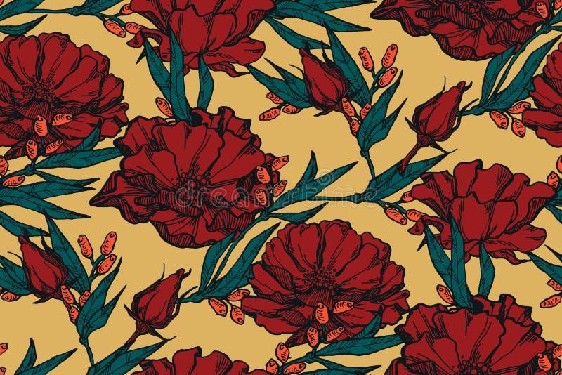Naadloze bloemenachtergrond met boeketten van rozen Uitstekend patroon voor behang, stof, digitaal document, enz. Sjofele elegant stock illustratie