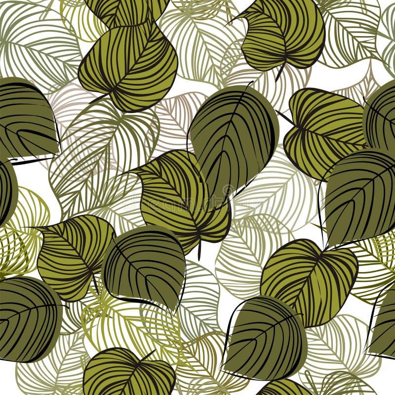Naadloze bloemenachtergrond met boombladeren royalty-vrije illustratie
