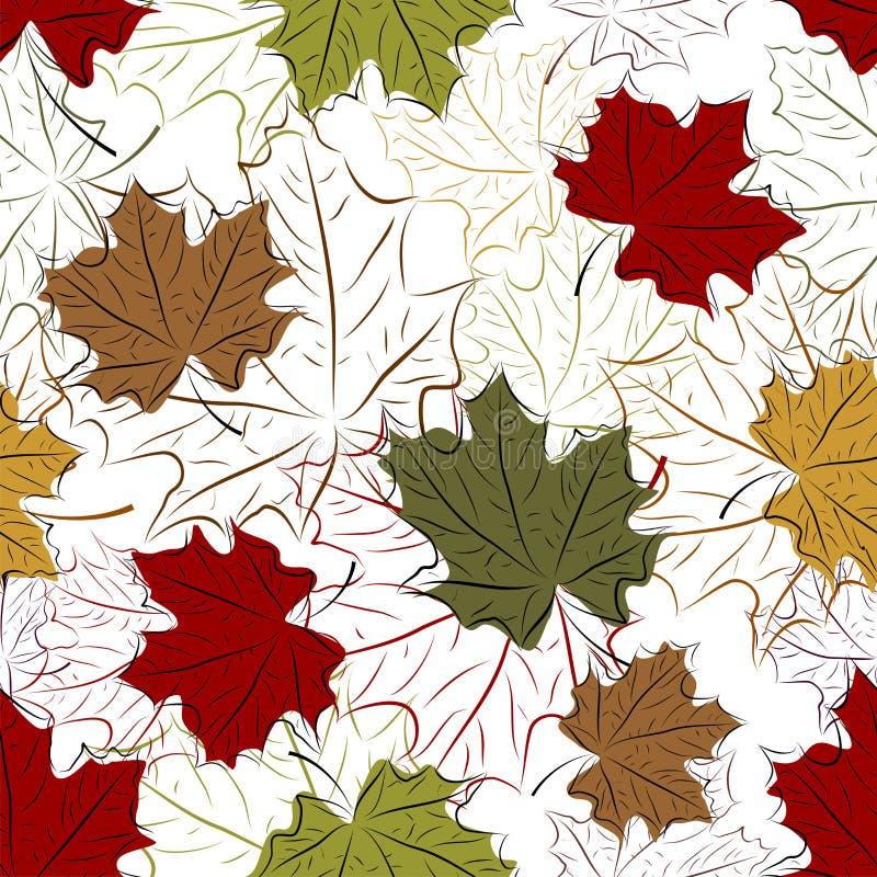 Naadloze bloemenachtergrond met boombladeren royalty-vrije stock afbeeldingen