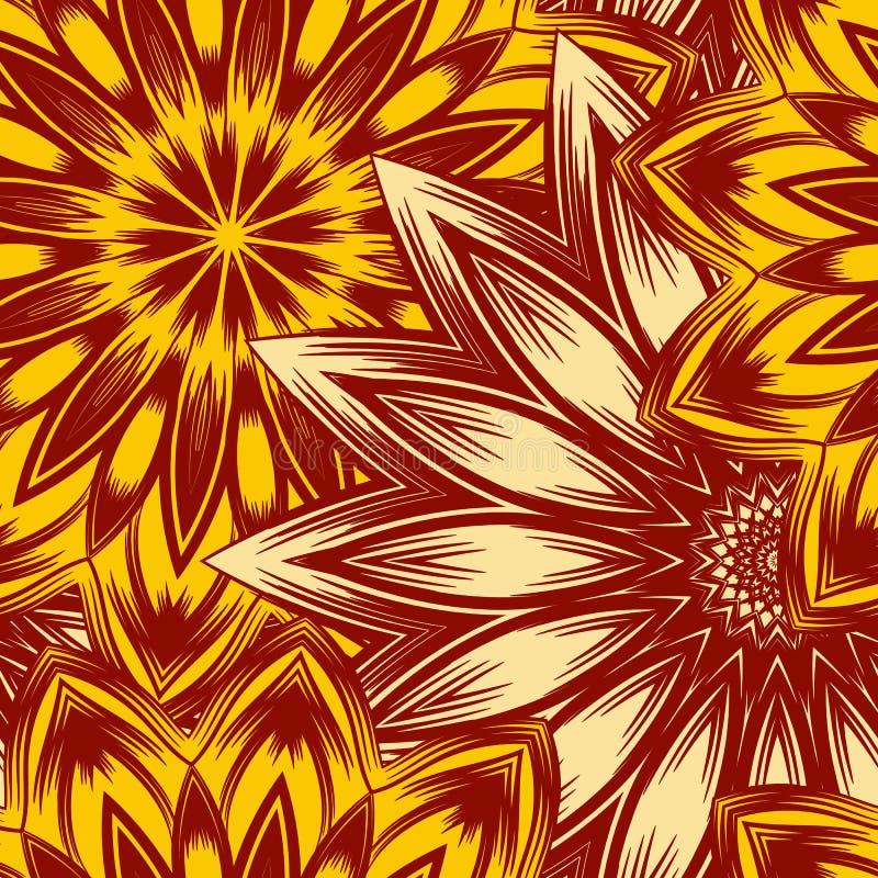 Naadloze bloemenachtergrond Patroon van de de stoffenachtergrond van de Tracery het met de hand gemaakte aard etnische met bloeme vector illustratie
