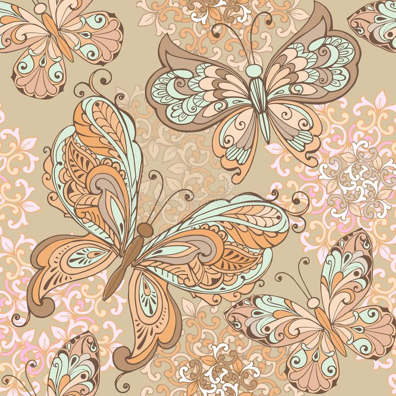 In Naadloze Bloemendruk in pastelkleuren Naadloos patroon met decoratieve vlinders in pastelkleuren royalty-vrije illustratie