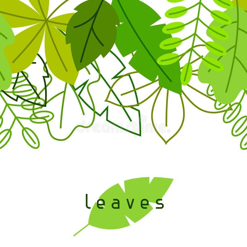 Naadloze bloemengrens met gestileerde groene bladeren De lente of de zomergebladerte royalty-vrije illustratie