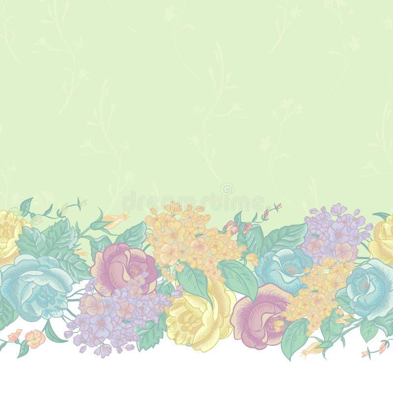 Naadloze Bloemengrens met wildflowers stock illustratie