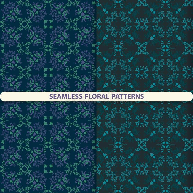 Naadloze bloemenpatronen met bloemen en botanische elementen Bloemtextuur druk voor textiel, behangontwerp, draaidocument, pa royalty-vrije illustratie