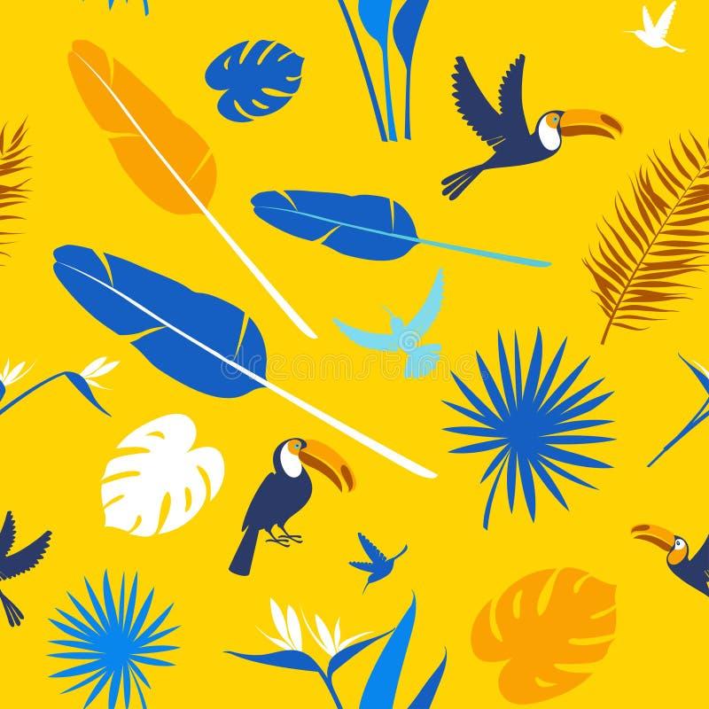 Naadloze bloemenpatroon Tropische bloemen als achtergrond, de vogels van wildernispalmbladen vector illustratie