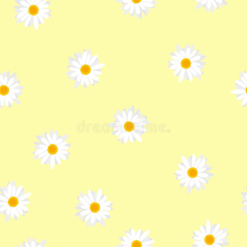 Naadloze bloemenpatroon witte bloemen Daisy op geel stock illustratie