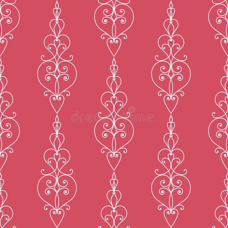 Naadloze bloemenstructuur Rood vectorornament op witte achtergrond vector illustratie