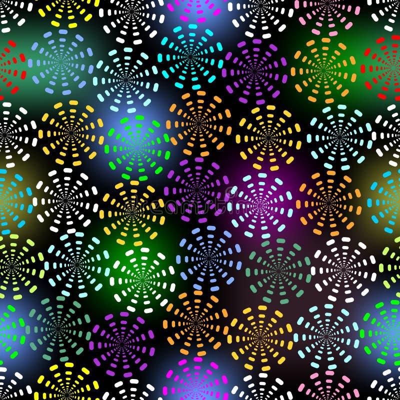 Naadloze bloemenvector in vrolijke kleuren op tegenover elkaar stellende zwarte achtergrond vector illustratie