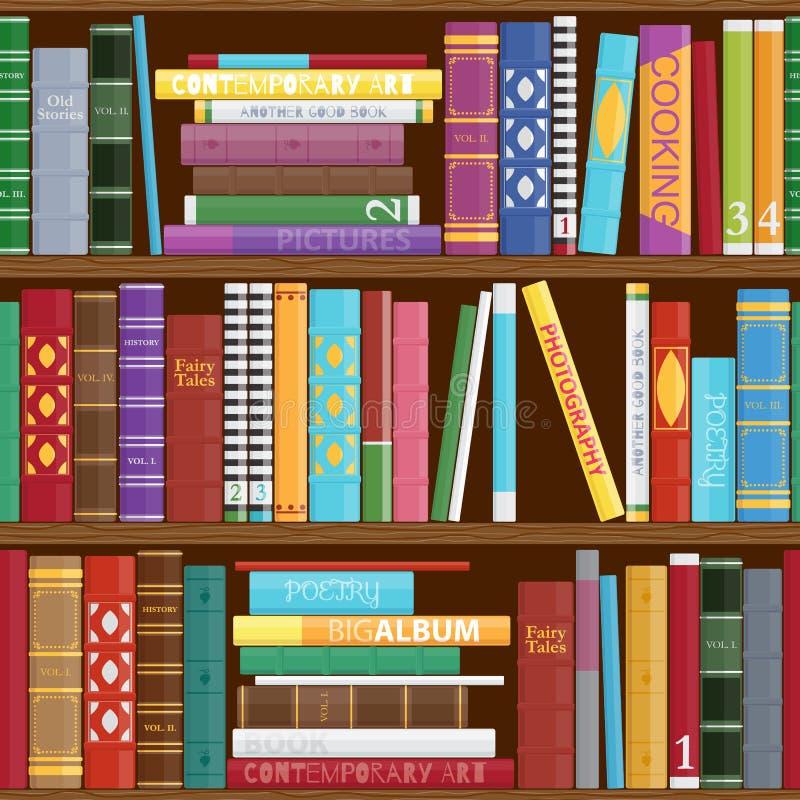 Naadloze boekenplankenachtergrond royalty-vrije illustratie