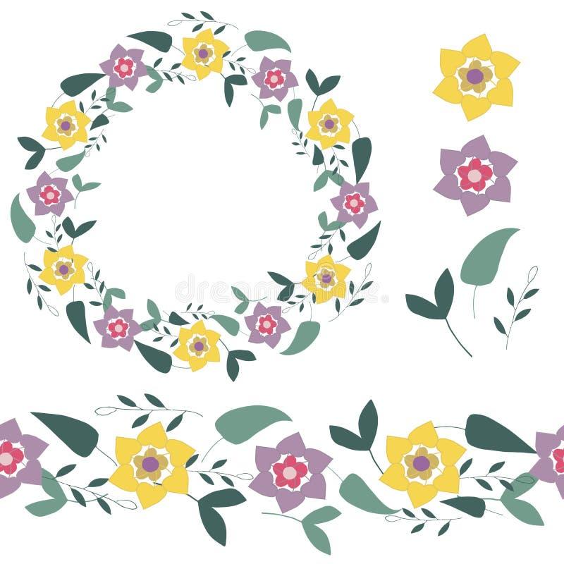 Naadloze borstel, kroon en enige elementen van abstracte bladeren en bloemen op een witte achtergrond Hand getrokken vector vector illustratie