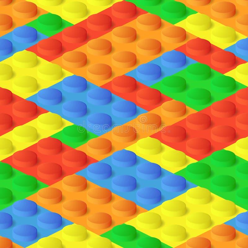 Naadloze bouw, plastic kleurrijke blokken royalty-vrije illustratie