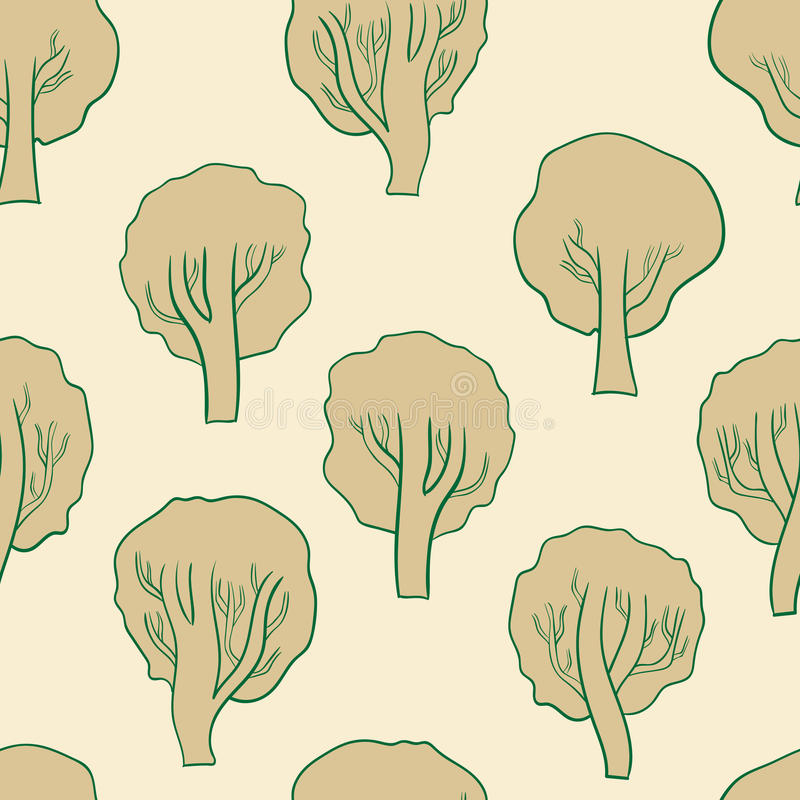 Naadloze bruine bomen royalty-vrije illustratie