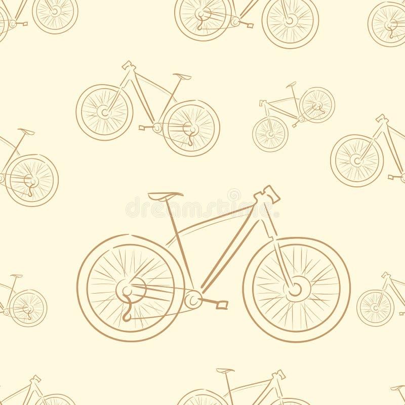 Naadloze bruine fietsen royalty-vrije illustratie