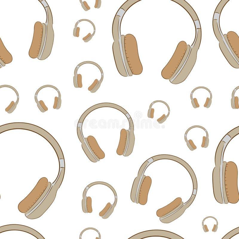 Naadloze bruine oortelefoons royalty-vrije illustratie