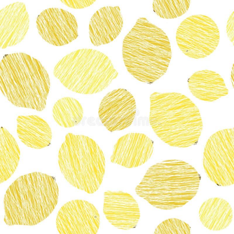 Naadloze citroentextuur Eindeloze citrusvruchtenachtergrond Het patroon van het oogstfruit stock illustratie