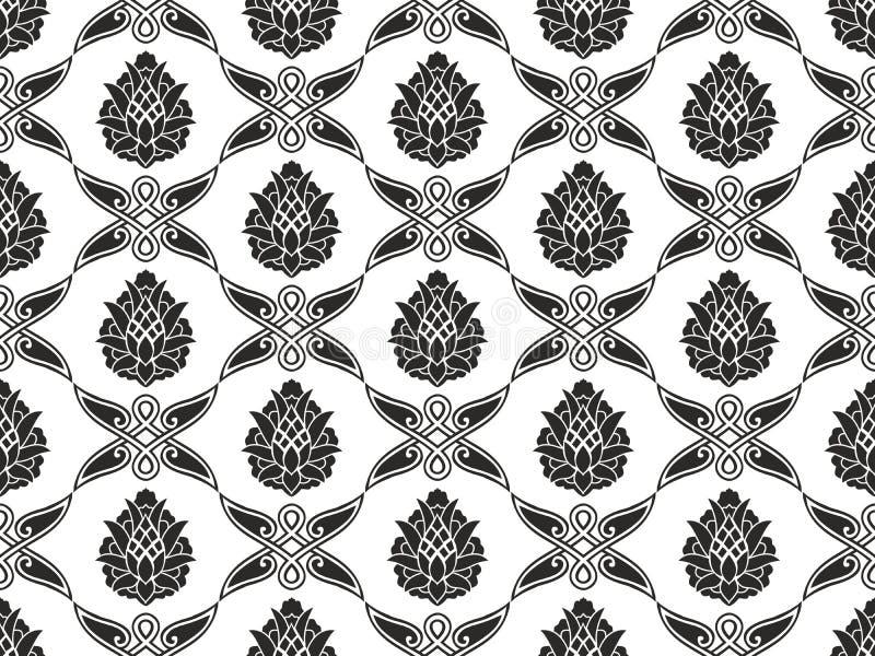 Naadloze damast bloemen zwart-witte textuur stock afbeelding