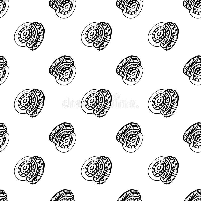 Naadloze de schijfkrabbel van de patroonhand getrokken rem Het pictogram van de schetsstijl Genomen in Genua, Italië Geïsoleerdj  vector illustratie