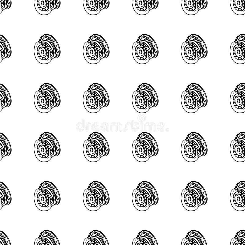Naadloze de schijfkrabbel van de patroonhand getrokken rem Het pictogram van de schetsstijl Genomen in Genua, Italië Geïsoleerdj  royalty-vrije illustratie
