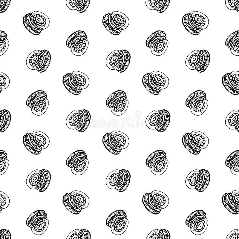Naadloze de schijfkrabbel van de patroonhand getrokken rem Het pictogram van de schetsstijl Genomen in Genua, Italië Geïsoleerdj  stock illustratie