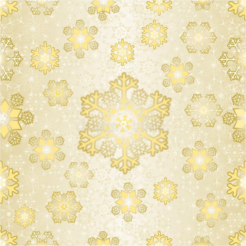 Naadloze de sneeuwvlokken gouden van textuurkerstmis gouden vector editable illustratie als achtergrond vector illustratie