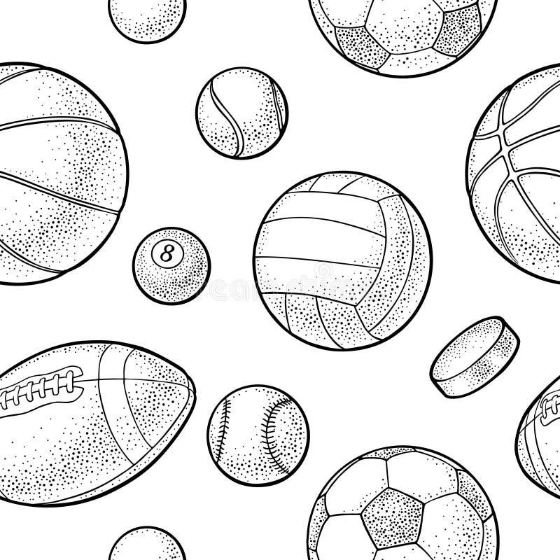 Naadloze de sportballen van patroon verschillende soorten Uitstekende vectorgravure vector illustratie