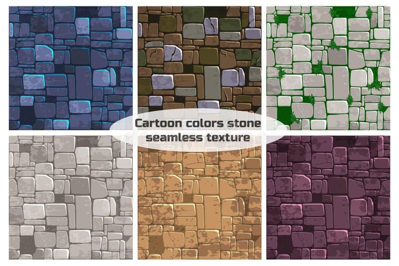 Naadloze de steenmuur van de achtergrondtextuur verschillende kleur Vectorillustratie voor Ui-Spelelement vector illustratie